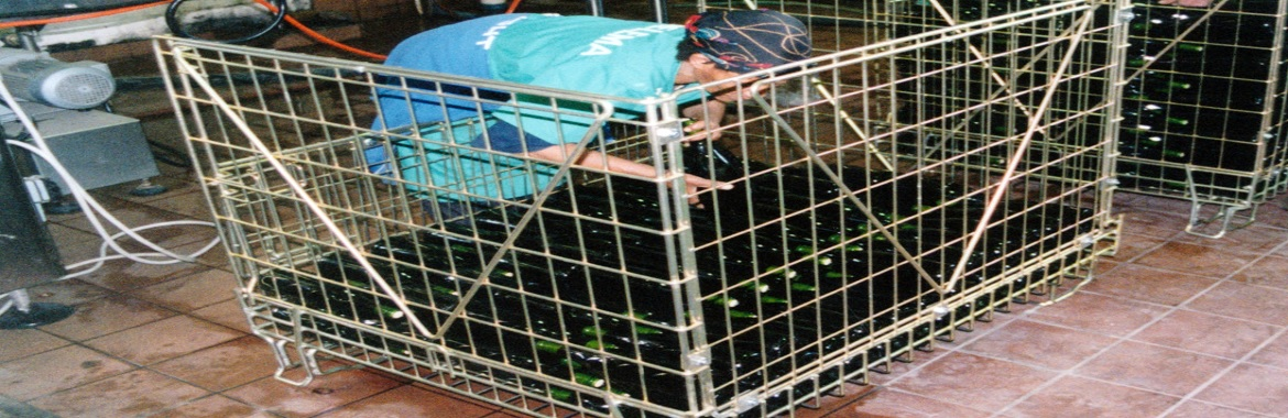 steel cages and metal bins
